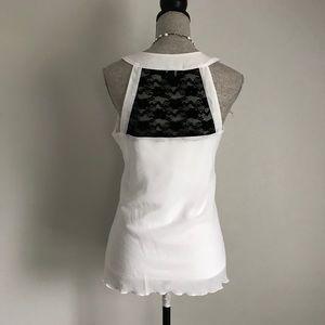 edd25c70058dc Iz Byer Tops - White Ruffle Sleeveless Blouse   Black Lace Detail